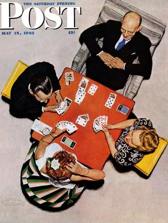"""""""Bridge Game"""" or """"Playing Cards"""" Saturday Evening Post Cover, May 15,1948"""