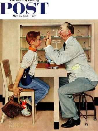 """""""At the Optometrist"""" or """"Eye Doctor"""" Saturday Evening Post Cover, May 19,1956"""