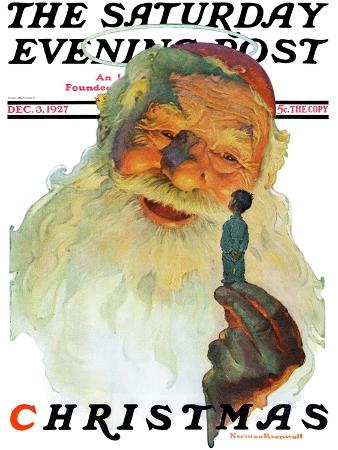 """""""Christmas, 1927"""" (King Kong Santa) Saturday Evening Post Cover, December 3,1927"""