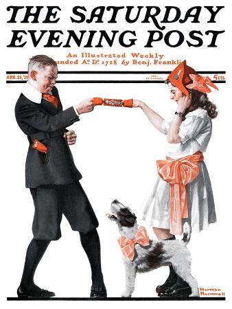 """""""Playing Party Games"""" Saturday Evening Post Cover, April 26,1919"""