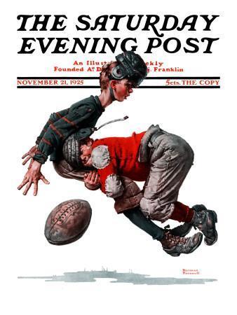 """Fumble"" or ""Tackled"" Saturday Evening Post Cover, November 21,1925"
