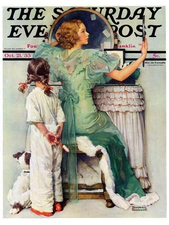 """""""Going Out"""" Saturday Evening Post Cover, October 21,1933"""