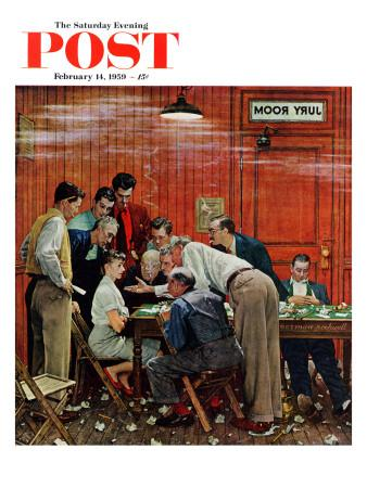"""""""Jury"""" or """"Holdout"""" Saturday Evening Post Cover, February 14,1959"""