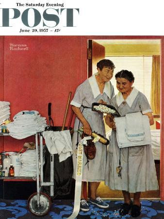 """Just Married"" (hotel maids and confetti) Saturday Evening Post Cover, June 29,1957"