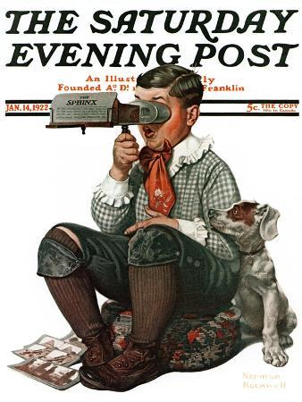 """""""Stereopticon"""" or """"Sphinx"""" Saturday Evening Post Cover, January 14,1922"""