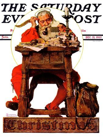 """Santa at His Desk"" Saturday Evening Post Cover, December 21,1935"