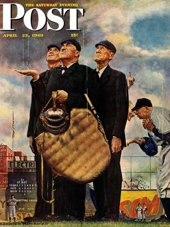 """""""Bottom of the Sixth""""  (Three Umpires) Saturday Evening Post Cover, April 23,1949"""
