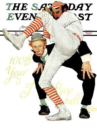 """""""100th Anniversary of Baseball"""" Saturday Evening Post Cover, July 8,1939"""