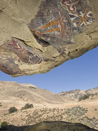 Abstract Chumash Pictographs Above a Cave Entrance