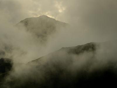 Mist Enshrouded Mountains and Llyn Gwynant Valley Near Beddgelert