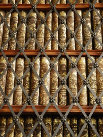 Close Up View of Antique Books Behind Caged Shelves