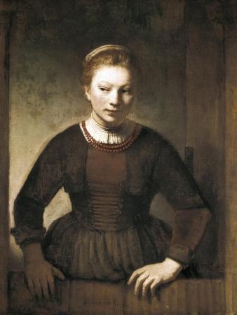 Young Woman at an Open Half-Door