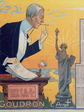 Publicity Calendar for the Cigarette Paper Manufacturer 'Rizla', Depicting President Woodrow Wilson