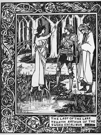 The Lady of the Lake Telleth Arthur of the Sword Excalibur, Illustration from 'Le Morte D'Arthur'