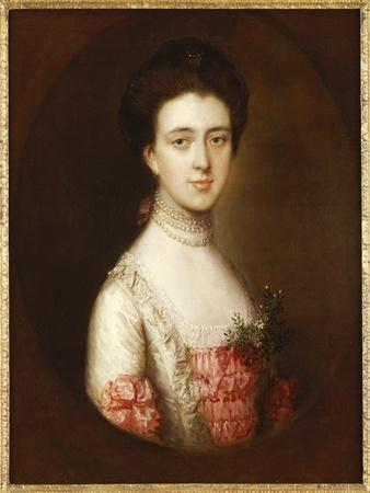 Portrait of a Lady, Bust Length, in a Pink and White Dress Trimmed with Lace and a Pearl Necklace