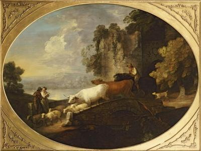 A River Landscape with Rustic Lovers, a Mounted Herdsman Driving Cattle and Sheep over a Bridge