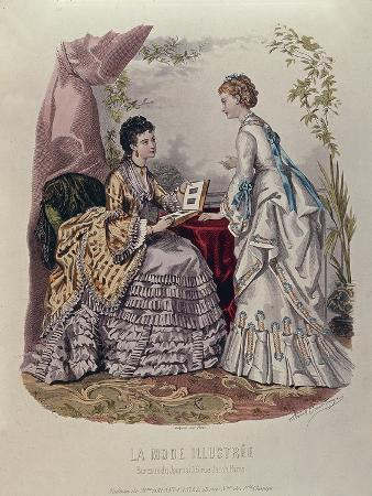 Fashion Plate Showing Ladies in Dresses Designed by Mme Breant-Castel and Looking at Photo Albums