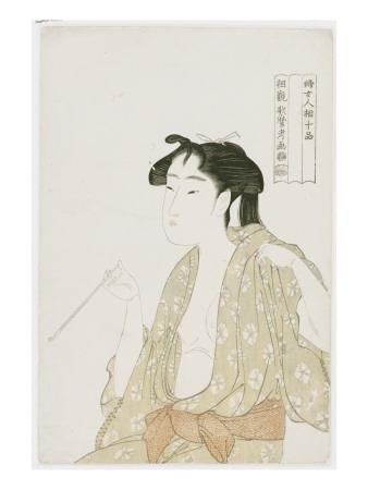 Half Length Portrait of a Woman Smoking, Holding a Pipe and Exhaling a Cloud of Smoke, C.1792
