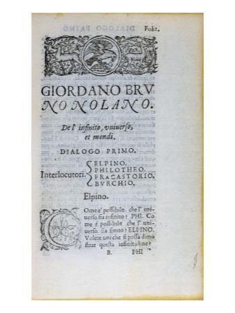 Res 28610 First Page of 'De L'Infinito Universo Et Mondi' by Giordano Bruno, Published in London