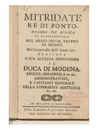 Frontispiece from an Early Copy of 'Mitridate, Re Di Ponte', an Opera by Wolfgang Amadeus Mozart