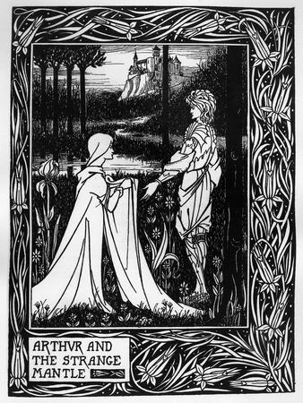 Arthur and the Strange Mantle, an Illustration from 'Le Morte D'Arthur' by Sir Thomas Malory