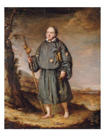 Portrait of a Gentleman as a Pilgrim, on a Track, Holding a Staff with a Gourd and a Bible, 1836