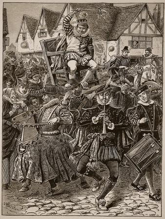 The Frolic of My Lord of Misrule, Illustration from 'Cassell's Illustrated History of England'