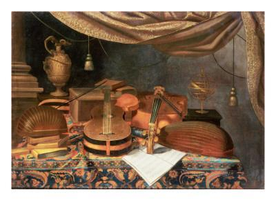 A Guitar, a Cello, Lutes, a Musical Score and Other Books and an Armillary Globe on a Draped Table,