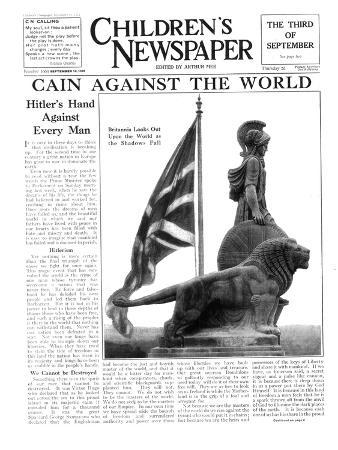 Britannia Looks Out Upon the World as the Shadows Fall, Front Page of 'The Children's Newspaper'