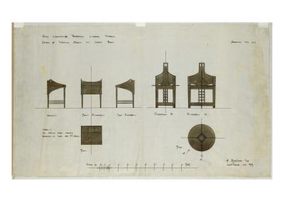 Designs for Writing Desks Shown in Front and Side Elevations, for the Ingram Street Tea Rooms, 1909