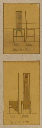 Designs for Chairs Shown in Front and Side Elevations, for the Room De Luxe, Willow Tea Rooms, 1903