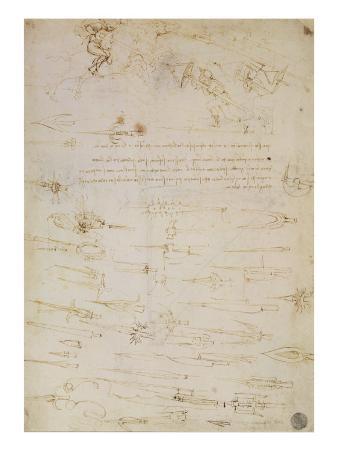 Sheet of Studies of Foot Soldiers and Horsemen in Combat, and Halbards, 1485-1488