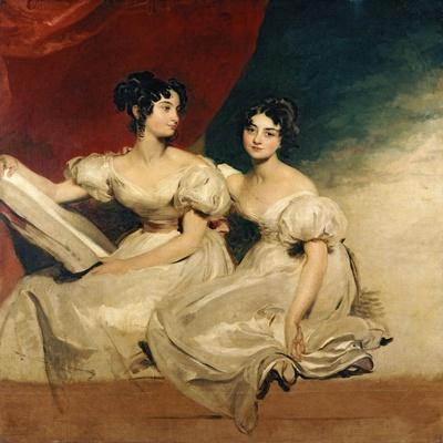 A Double Portrait of the Fullerton Sisters, Seated Full Length, in White Dresses, C.1825