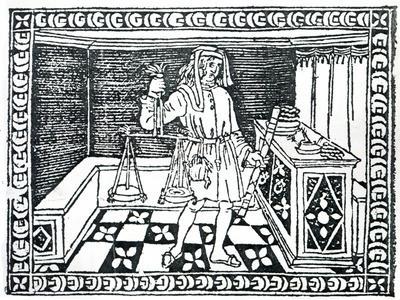 Money Changer, Illustration from 'Libro Di Givocho Di Scacchi' by Jacobus De Cessolis, 1493