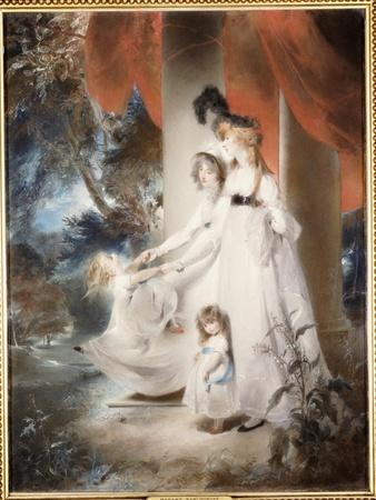 Portrait of Mrs Ayscoghe Boucherett with Her Two Eldest Children, Emilia and Ayscoghe