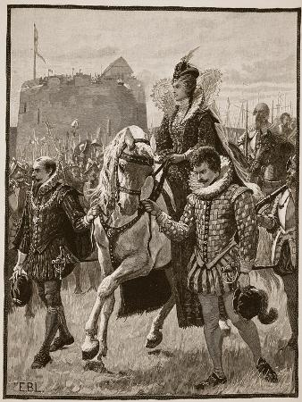 Queen Elizabeth at Tilbury, Illustration from 'Cassell's Illustrated History of England'