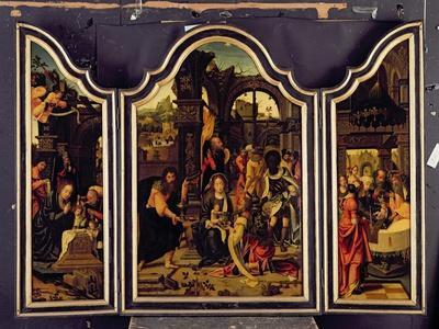 A Triptych: Adoration of the Magi; Nativity and Presentation in the Temple; Annunciation
