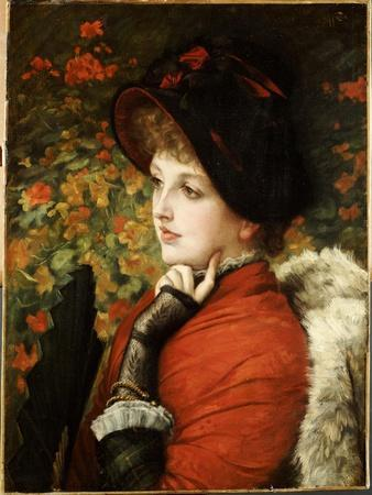 Type of Beauty: Portrait of Mrs. Kathleen Newton in a Red Dress and Black Bonnet, 1880
