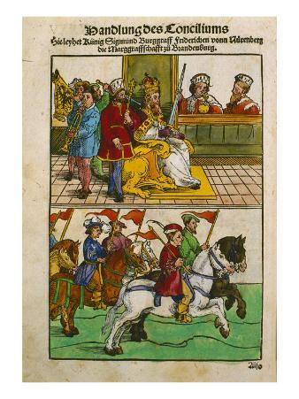 Sigismund at the Council of Constance, from 'Chronik Des Konzils Von Konstanz'