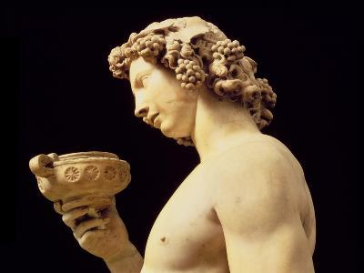 The Drunkenness of Bacchus, Detail of His Head, Sculpture by Michelangelo Buonarroti