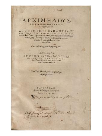Titlepage of a Printed Edition of the 'Archimedes Palimpsest', Editio Princeps, 1544