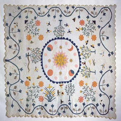 Applique Quilt with Sun, Moon, Stars and the Garden of Eden, from Arkansas, C.1890
