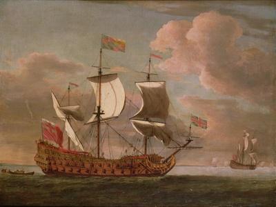 The British Man-O'-War `The Royal James' Flying the Royal Ensign Off a Coast
