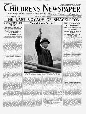The Last Voyage of Shackleton, Front Page of 'The Children's Newspaper', February 1922
