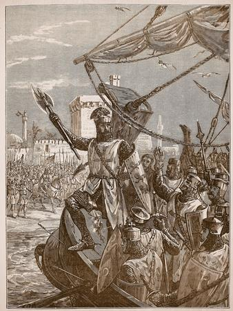 Richard Landing at Jaffa, Illustration from 'Cassell's Illustrated History of England'