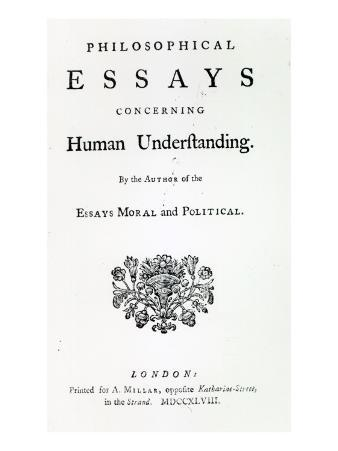 Titlepage of 'Philosophical Essays Concerning Human Understanding' by David Hume, 1748