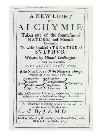 Title Page to the English Edition of 'A New Light on Alchemy' by Michal Sedziwoj, 1650