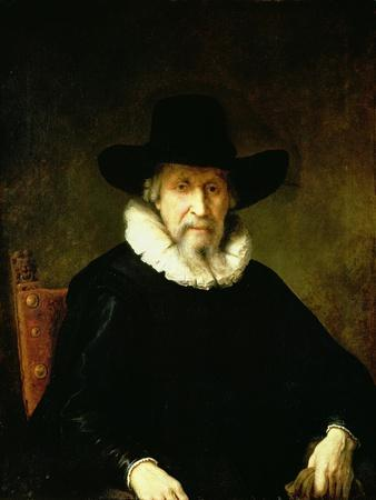 Portrait of a Gentleman Wearing a Ruff and Dark Clothes with a Wide Brimmed Hat
