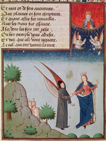 Ms 3045 Fol.94R Lady Philosophy Leads Boethius in Flight into the Sky on the Wings