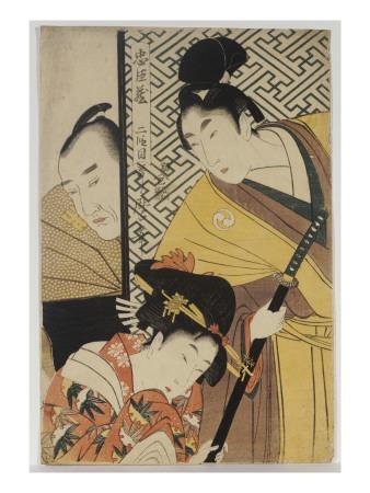 The Young Samurai, Rikiya, with Konami and Honzo Partly Hidden Behind the Door